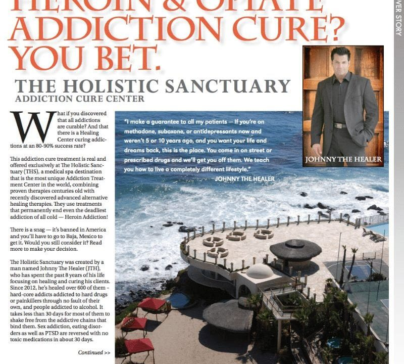 health magazine article pages on the holistic sanctuary and johnny the healer